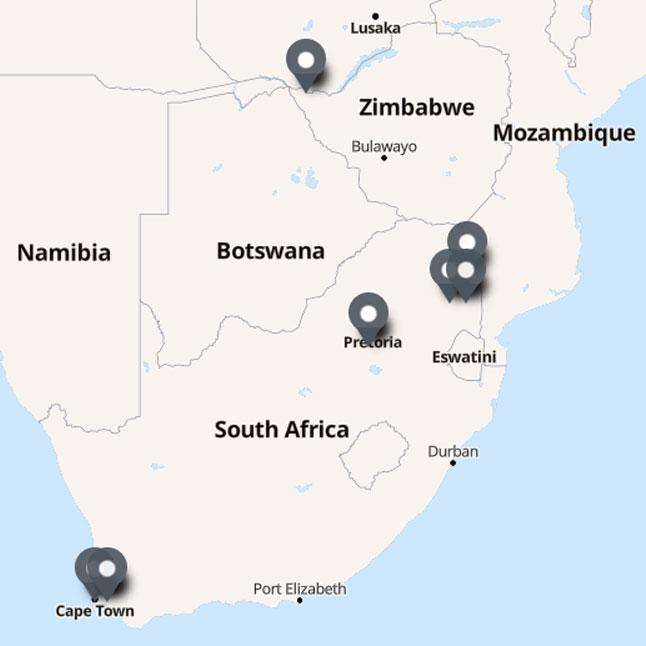 Carte Itinéraire Voyage Afrique du Sud