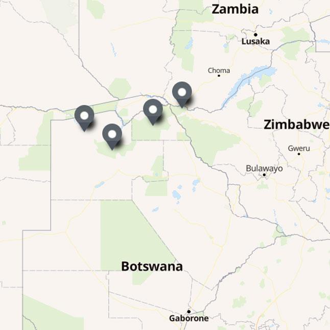Carte Itinéraire Voyage Botswana